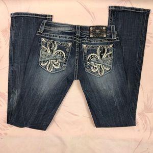 Miss Me Bedazzled Slim Boot Dark Wash Jeans